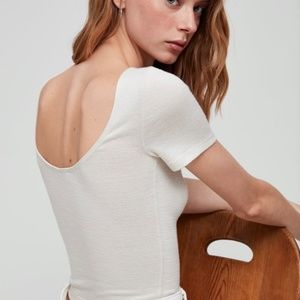 Wilfred Off-White Short Sleeve Crop
